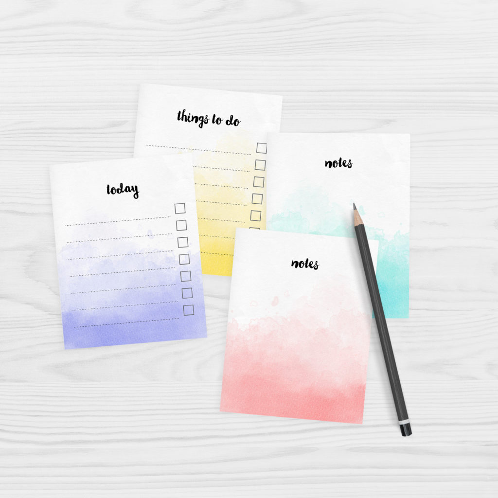 Free printable watercolour note paper - mini size
