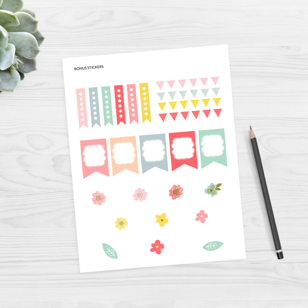 Spring Floral planner stickers - free printable