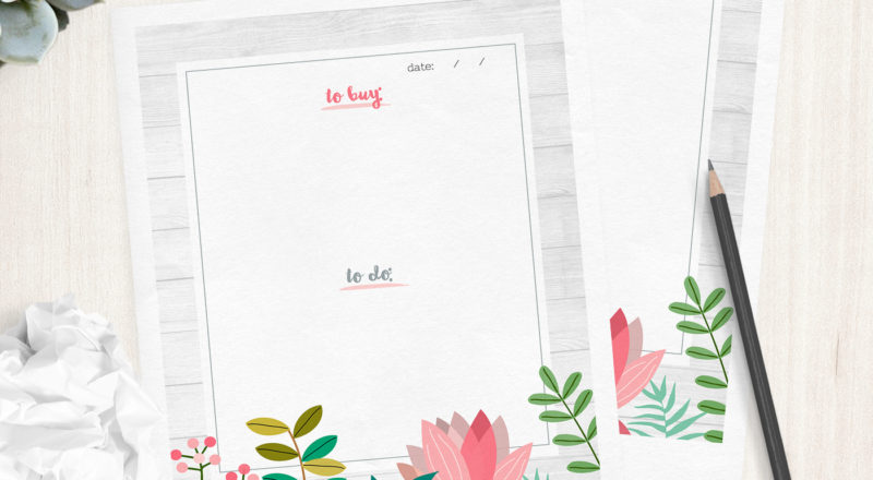 Free printable to-do list and shopping list