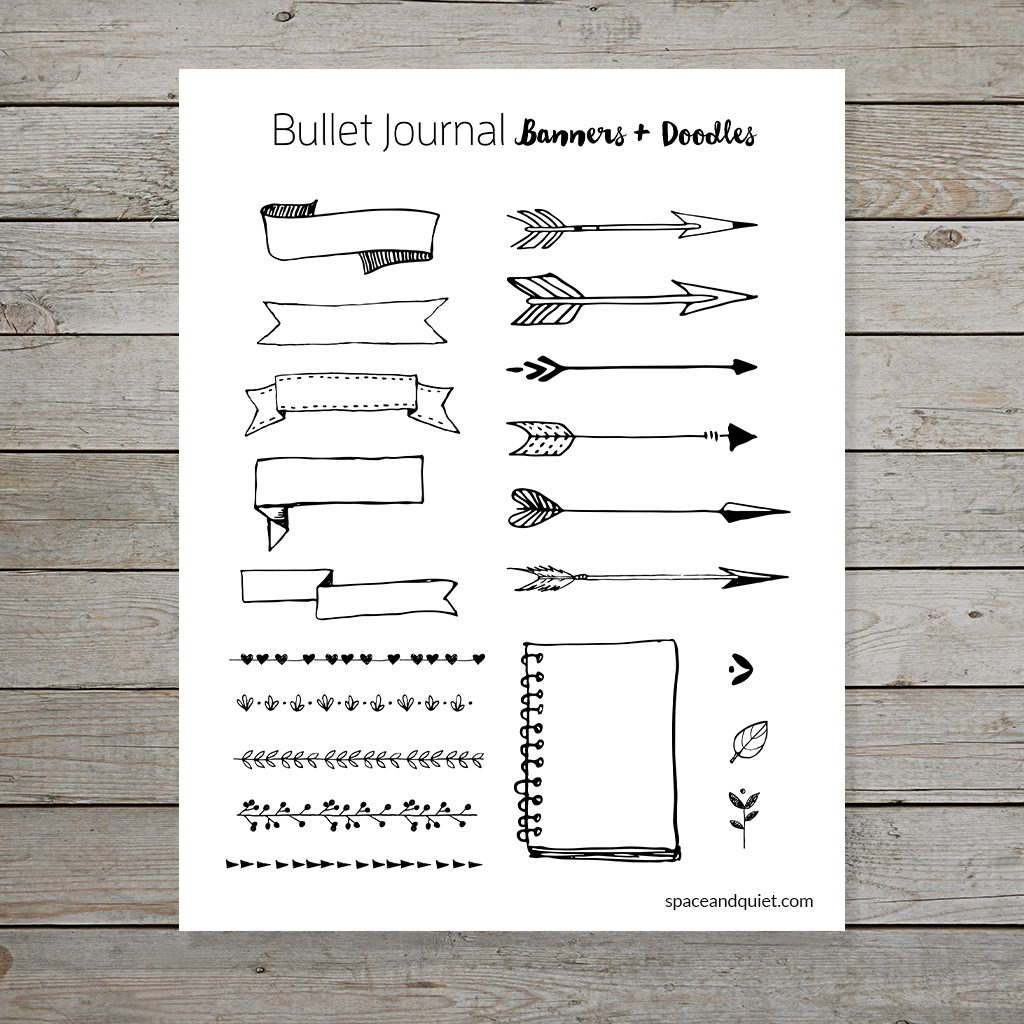 Free banners and doodles for bullet journal