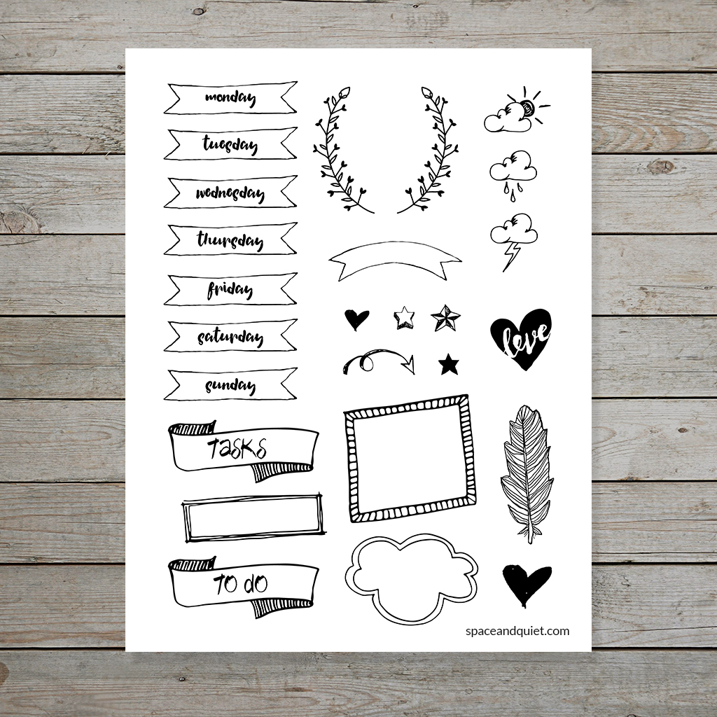 Free Bullet Journal printable hand drawn banners and doodles