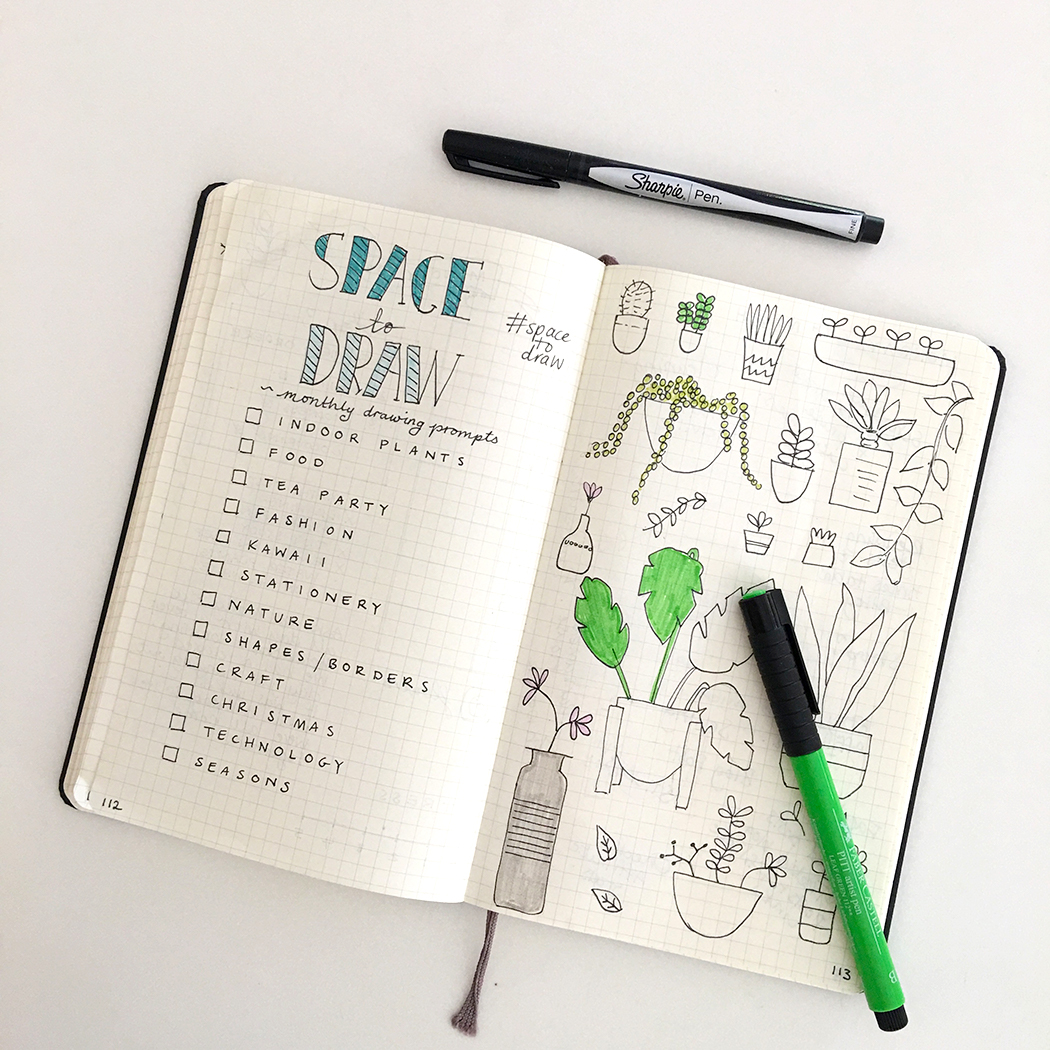 Monthly drawing prompts for Bullet Journaling
