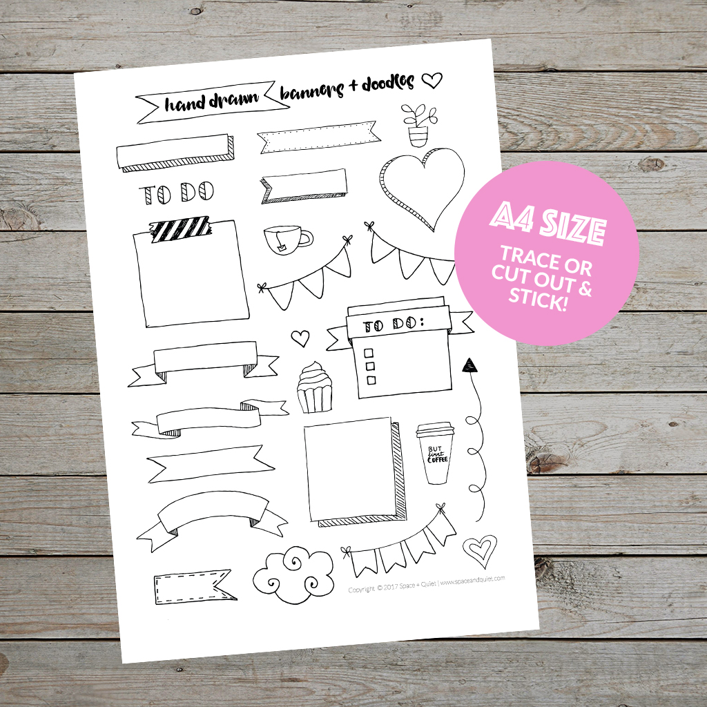 Hand drawn banners and doodles - free printable