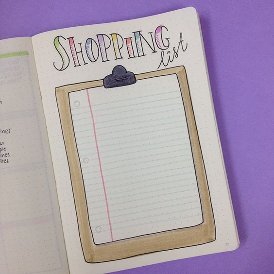 Shopping list idea in the bullet journal