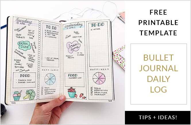 Printable Bullet journal daily log template plus tips