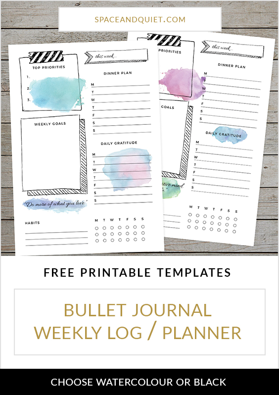 Download a free bullet journal weekly log template