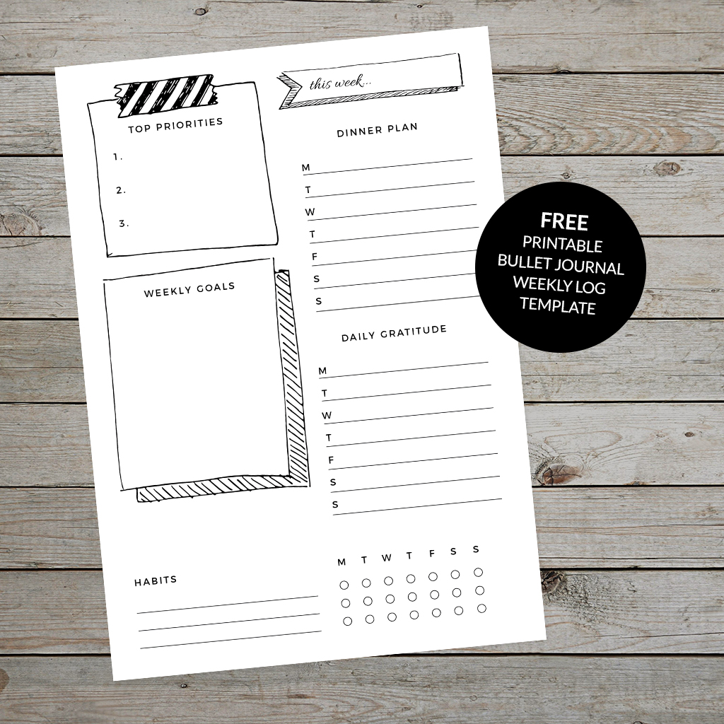 Black and white bullet journal weekly log template