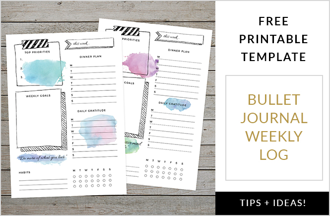Bullet Journal Weekly Log Template to download and print
