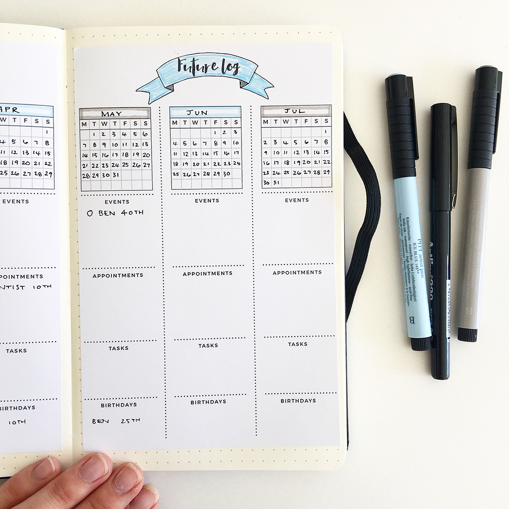 A future log page in the bullet journal