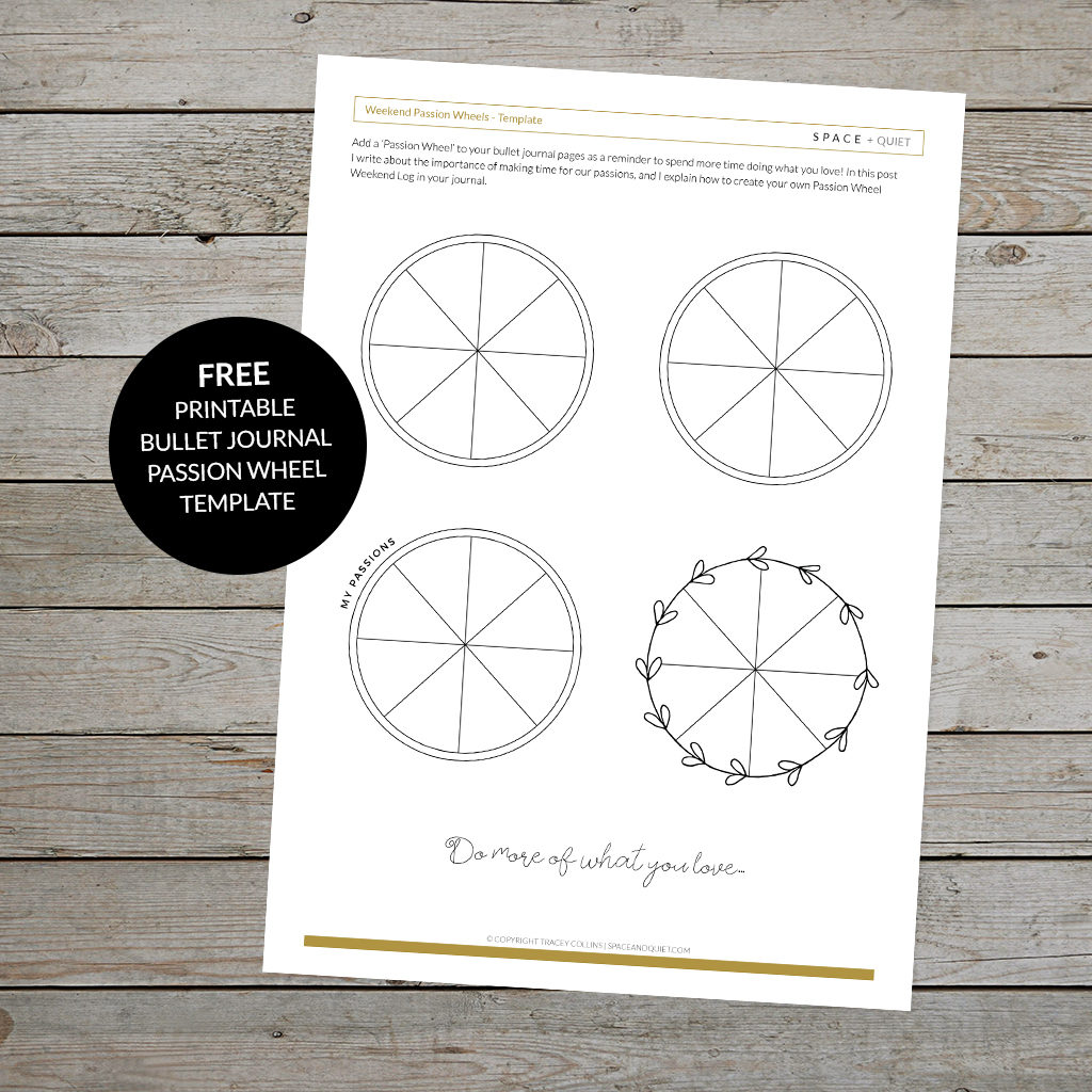 Bullet Journal Passion Wheel Printable Template