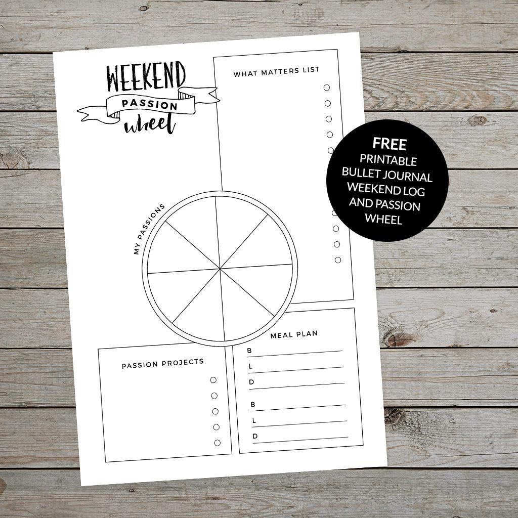 Printable Bullet Journal weekend log template