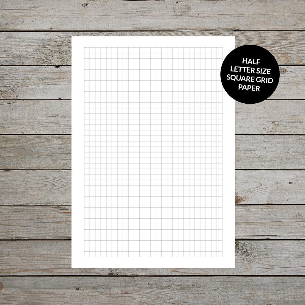 Printable Square Grid Paper Half Letter Size
