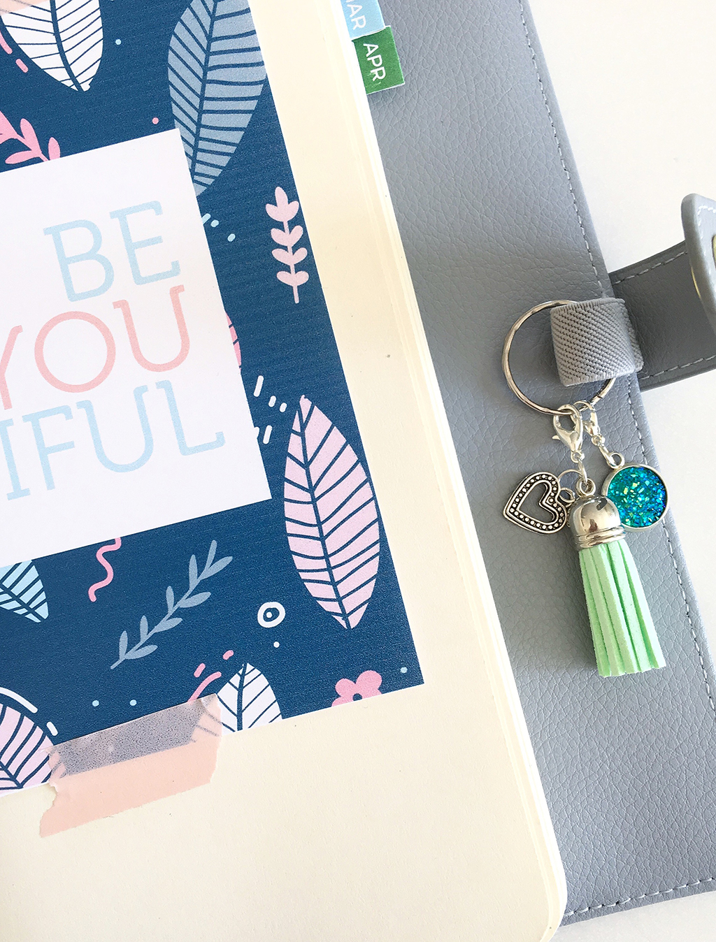 Add a planner charm keyring to your pen loop