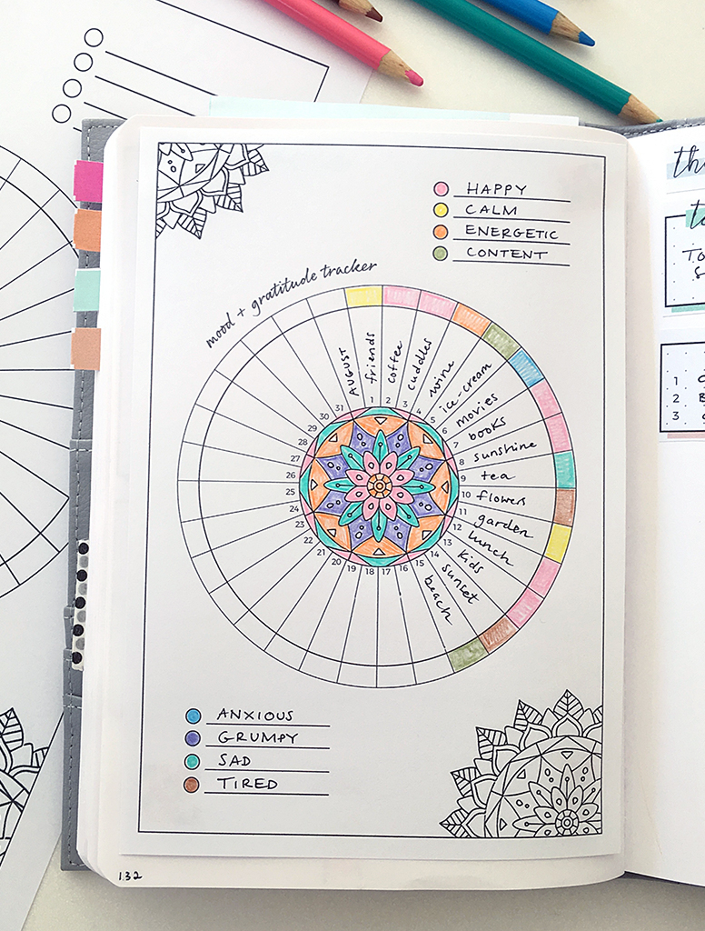 Printable bullet journal tracker for moods and gratitude