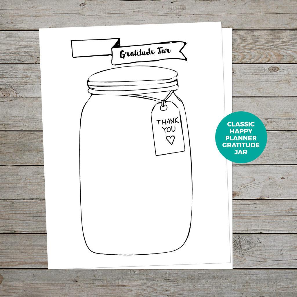 Printable Gratitude Jar Happy Planner Insert