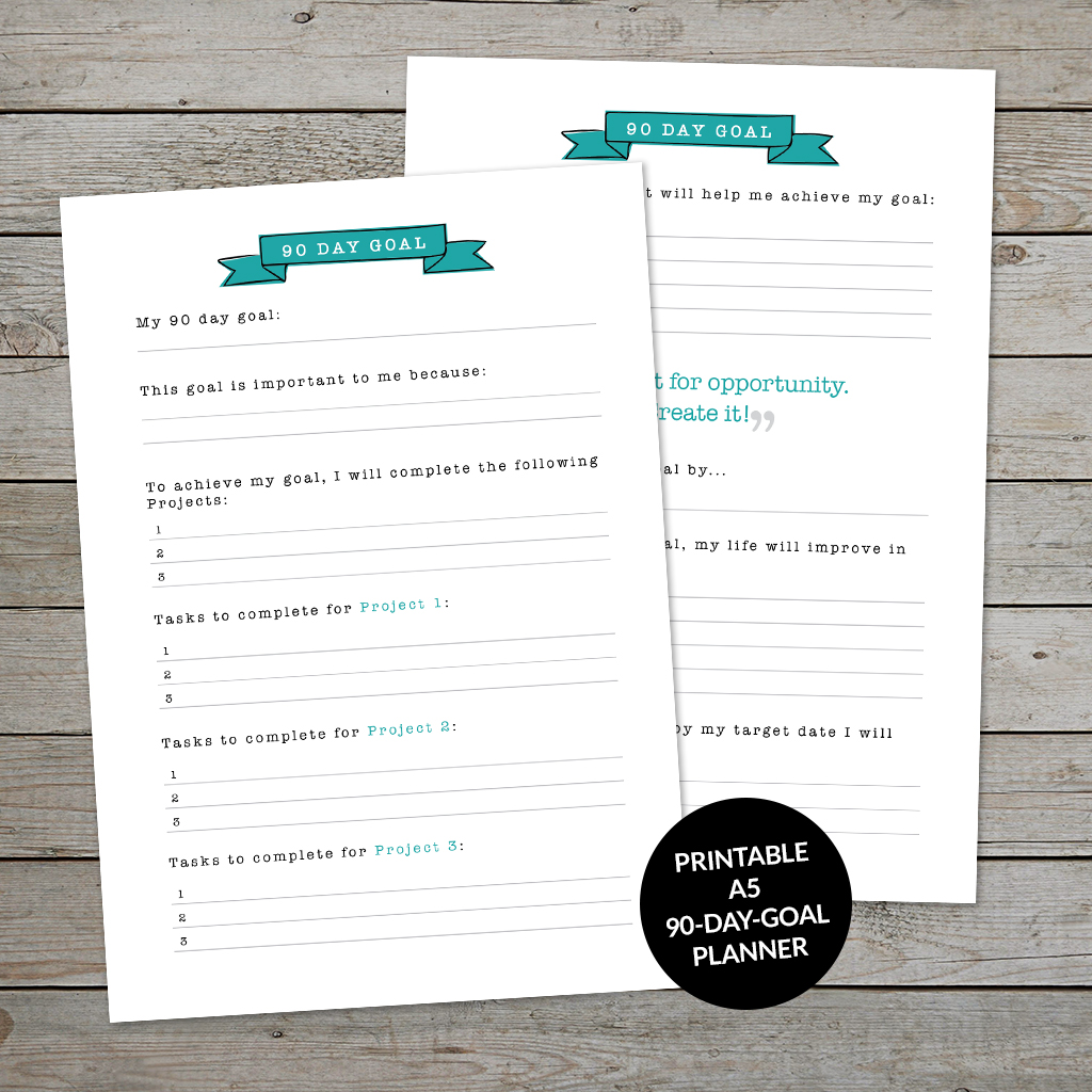 Printable 90-Day Goal planner page