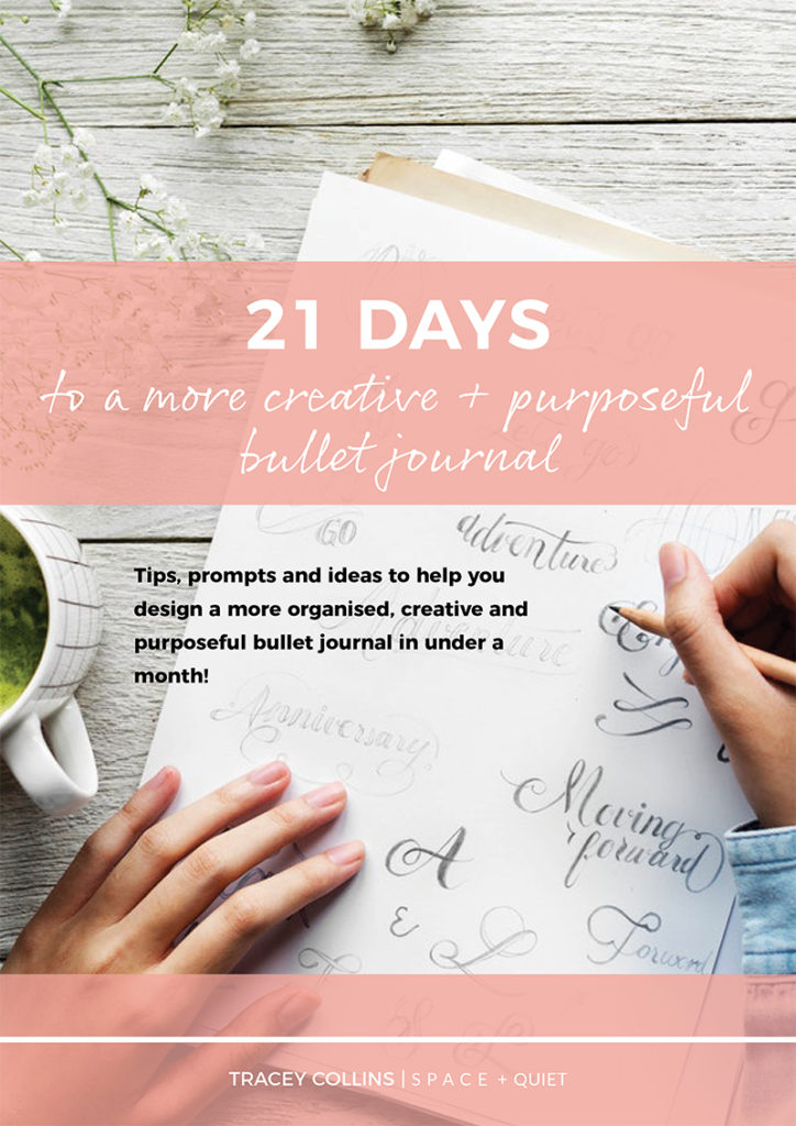 Bullet Journal eBook cover page: 21 Days To A More Creative And Purposeful Bullet Journal