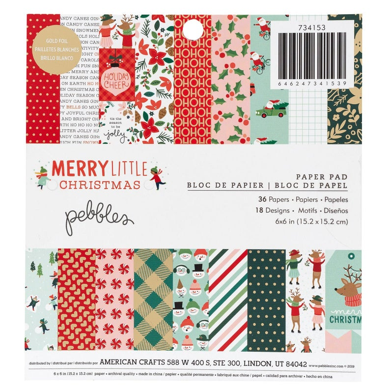 Pad of Christmas patterned scrapbooking paper